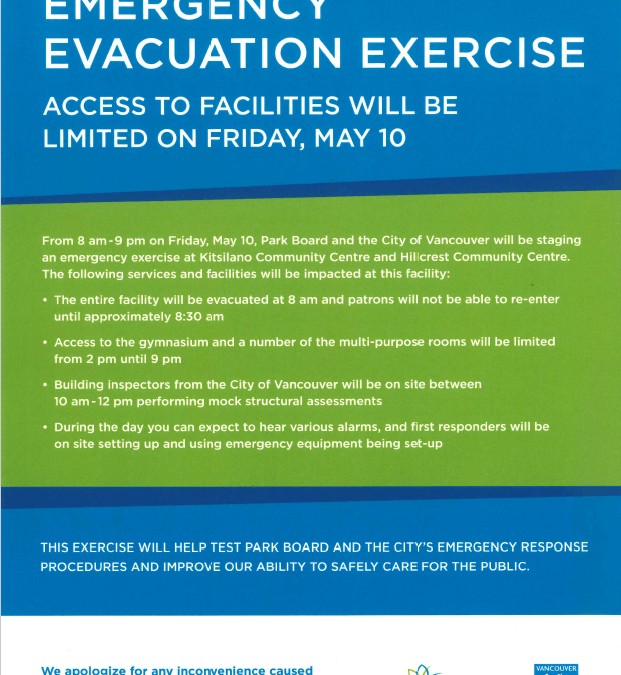 Emergency Evacuation Exercise-May 10-Limited Facility Access