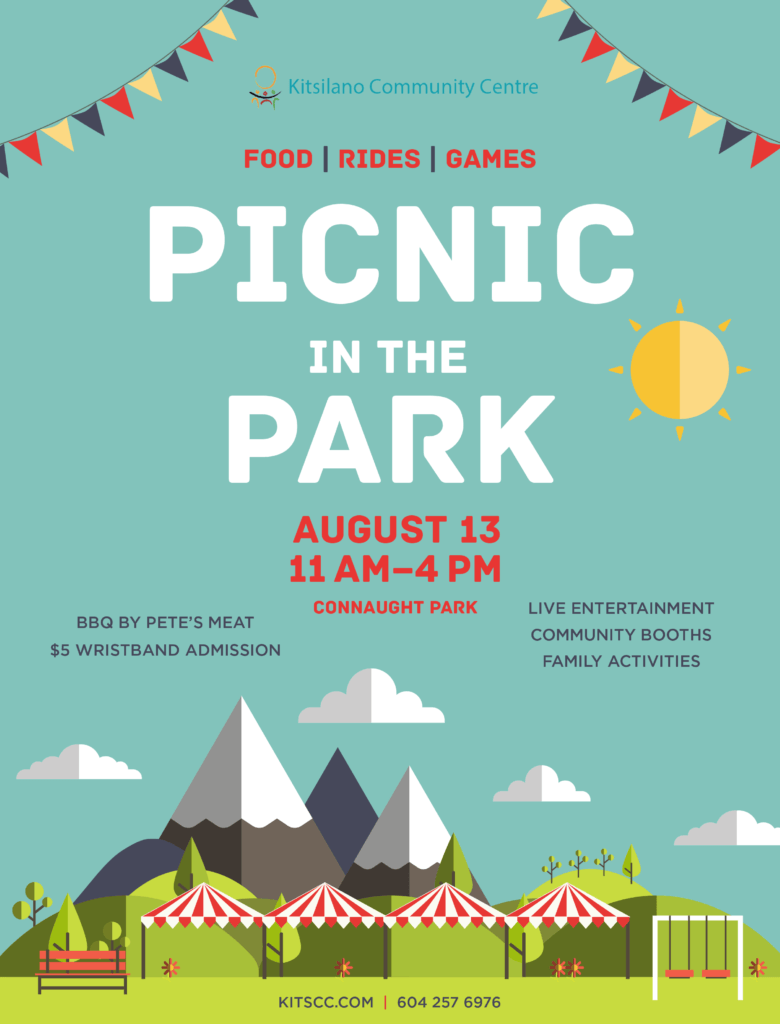 PICNIC PARK IN THE August 13 11  AM–4 PM Connaught Park Food   BBQ BY PETE'S MEAT $5 WRISTBAND ADMISSION  LIVE ENTERTAINMENT COMMUNITY BOOTHS FAMILY ACTIVITIES  KITSCC.COM