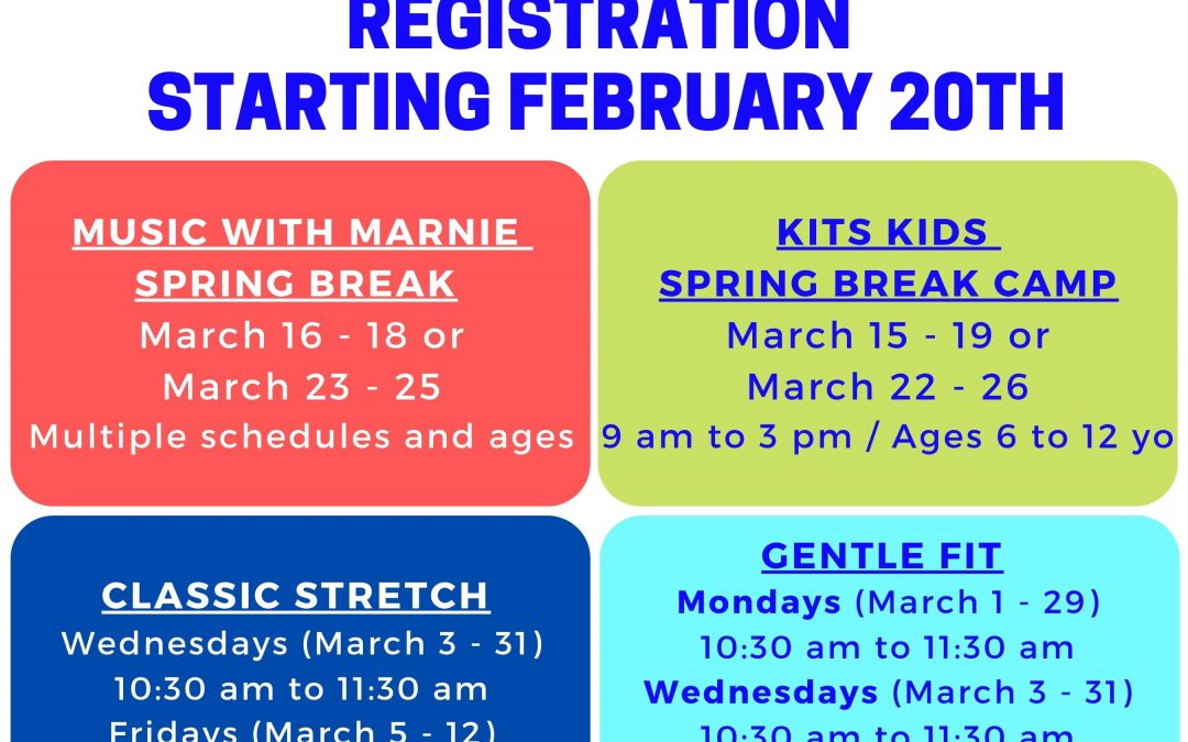 GOOD NEWS! Programs available for registration starting February 20th