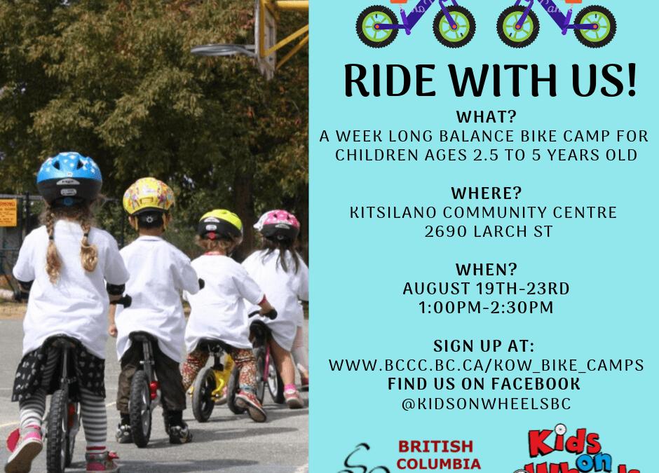 Kids on Wheels: Balance Bike Camp (2.5-5 yrs)-Aug 19-23