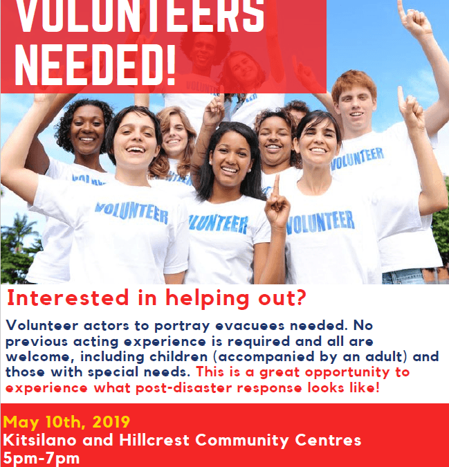 Emergency Exercise Volunteers Needed for May 10