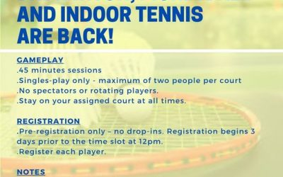 GOOD NEWS Badminton, Pickleball, and Indoor Tennis are back! Ages: 55 and up