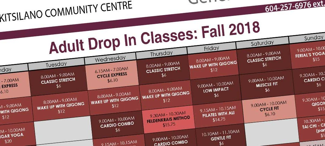 Adult Drop In Classes: Fall 2018