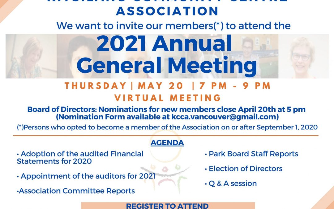 Kitsilano Community Centre Association, will host their Annual General Meeting on May 20th at 7 pm (virtual meeting).