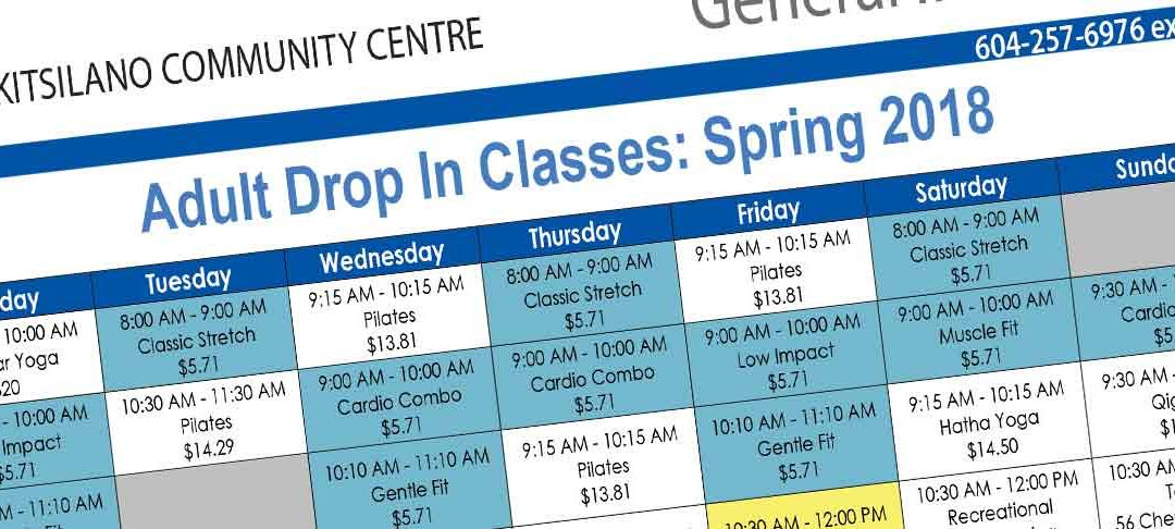 Adult Drop In Classes: Spring 2018