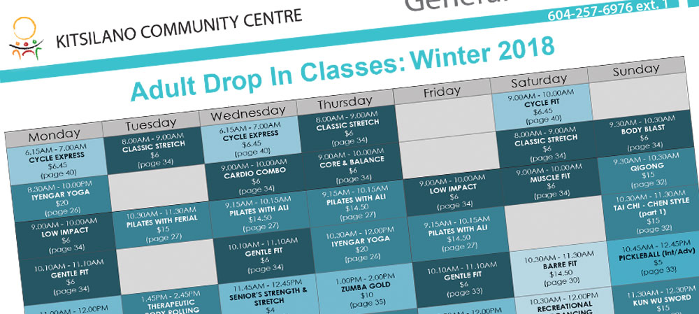 Winter Adult Programs – At A Glance